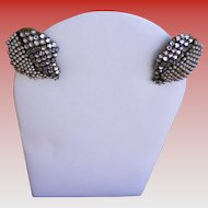Miriam Haskell Rhinestone and Faux Pearl Earrings