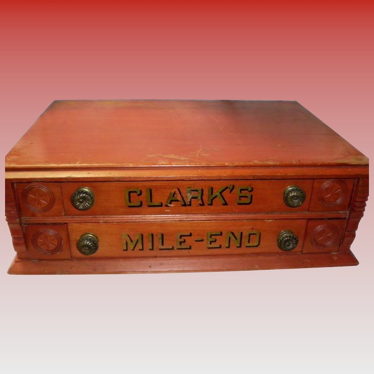 Antique Clark's Mile End 2 Drawer Spool Cabinet - Antique Clark's Mile End 2 Drawer Spool Cabinet : Cameo Antique Mall