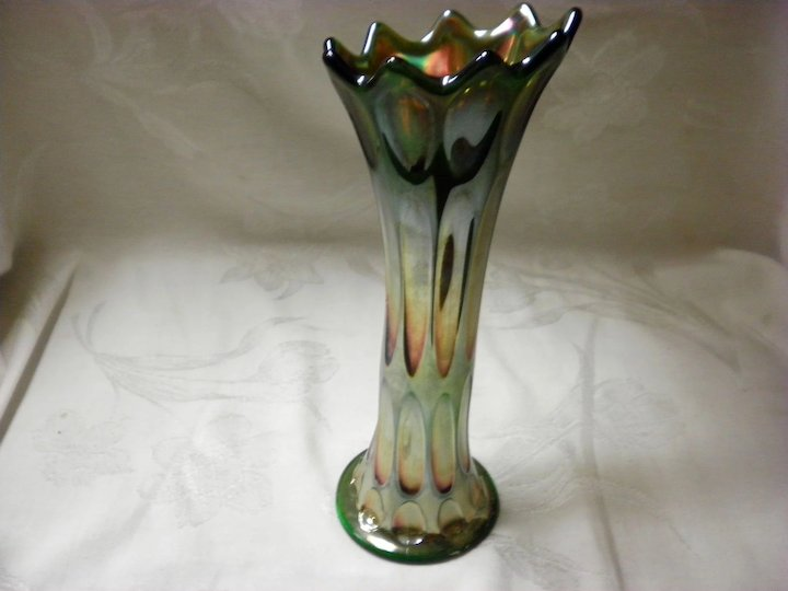 Northwoods Green Carnival Glass Vase Cameo Antique Mall Ruby Lane