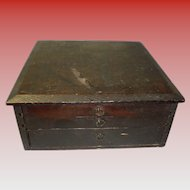 Small Primitive Handmade 3 Drawer Cabinet With Divided Compartments