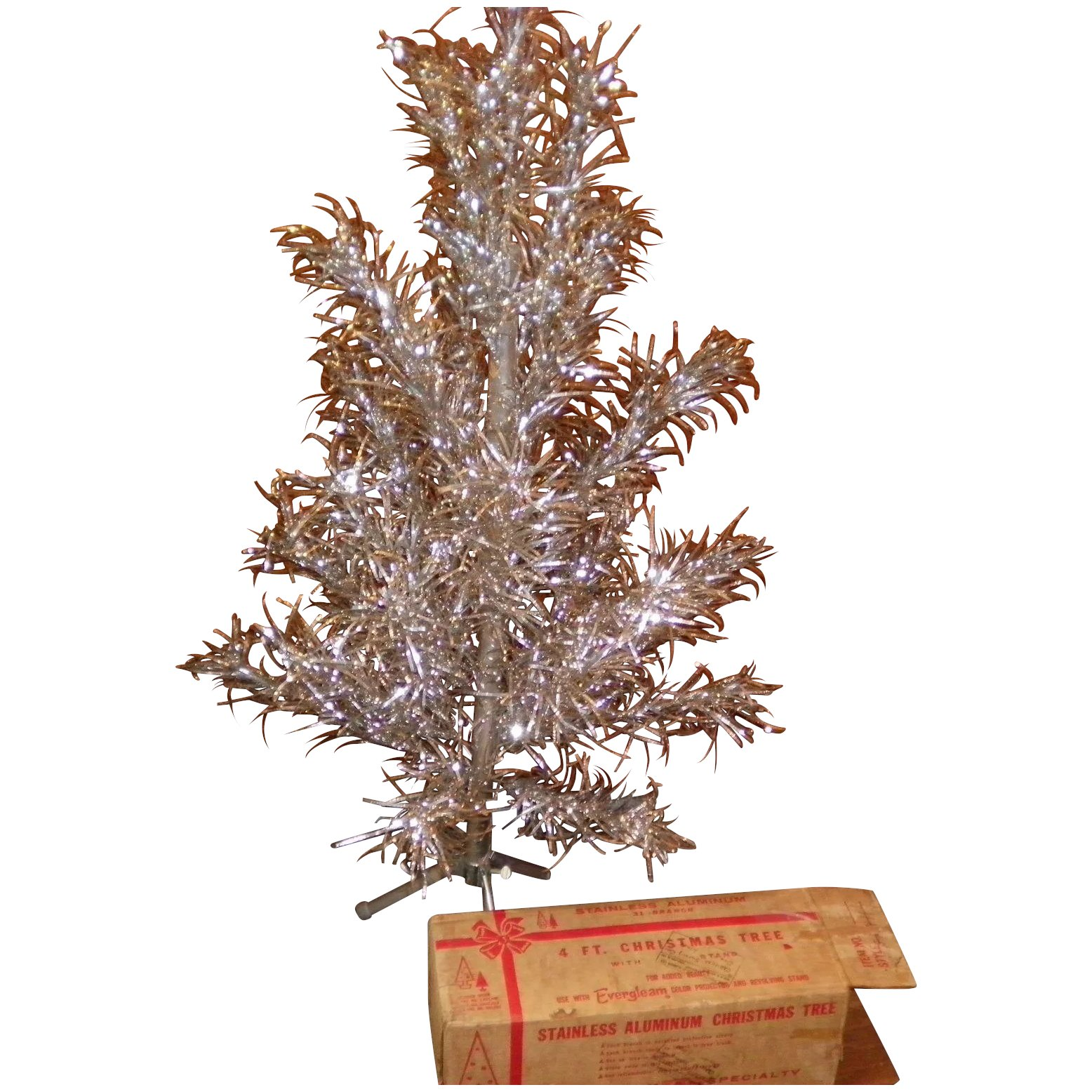 vintage 4 foot aluminum christmas tree by evergleam with the original box click to expand