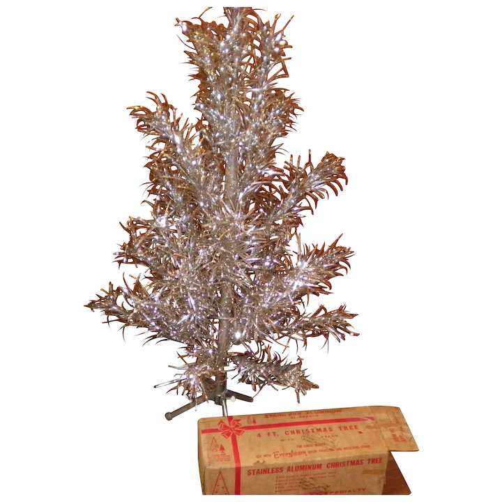 4 Foot Christmas Tree.Vintage 4 Foot Aluminum Christmas Tree By Evergleam With The Original Box