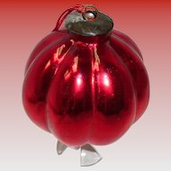 Large Red Round Ribbed Kugel Ornament