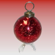 Ruby Red Crackle Ball Ornament Kugel Style
