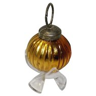 Kugel Style Gold Ribbed Round Ornament