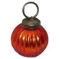 Kugel Style Orange Ribbed Round Ornament