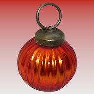 Kugel Style Orange Ribbed Round Ornament