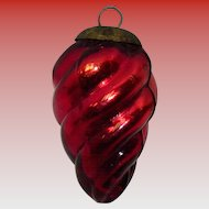 Signed Midwest Kugel Red Swirl Ornamet