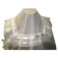 Antique Victorian Lace Collar With Ribbon Inlay