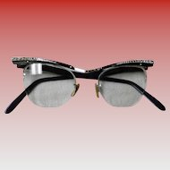 Vintage 1950's Bausch & Lomb 12K White Gold Filled Cat Eye Glasses