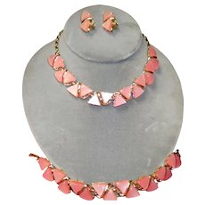 Vintage Pink Coro Necklace Bracelet And Clip On Earrings Set