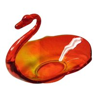 Amberina Art Glass Swan Candy Nut Dish