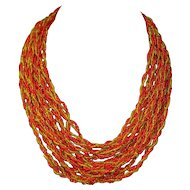 Orange And Yellow Multi Strand Twisted Necklace Signed Japan