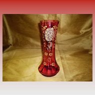 Victorian Moser Style Cranberry Enameled Hand Blown Vase