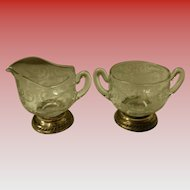 Cambridge Chantilly Sterling Base Creamer & Sugar Bowl