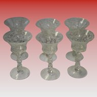 Set Of 6 Cambridge Chantilly Etched Crystal Liquor / Cocktail Glasses