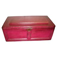 Red Antique Wooden Handmade Carpenter's Sea Chest With Removable Tray