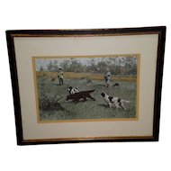 Framed A. B. Frost Colored Dog Hunting Print