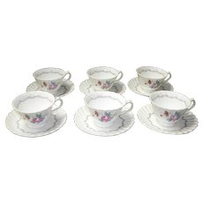 "Set of 6 Royal Doulton ""Chelsea Rose"" Cups & Saucers"