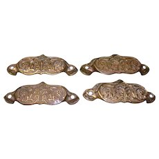 Set Of 4 Brass Drawer Pull Handles
