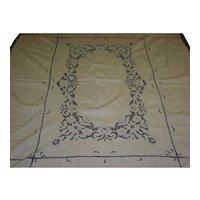 Vintage Ecru Crochet Tablecloth And 8 Napkins