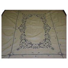 Vintage Ecru Crochet Tablecloth Cloth And 8 Napkins