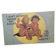 "Black Americana Postcard ""I'se got my sweets"""