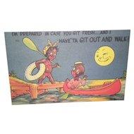 """Black Americana Postcard """"Im Prepared In Case You Git Fresh"""""""