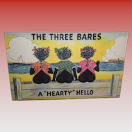 "Black Americana Postcard ""The Three Bares"""