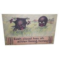 "Black Americana Postcard ""Evah cloud has ah silver lining"""