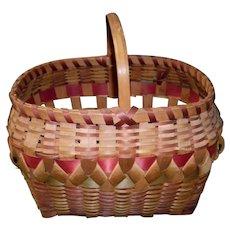Native American Winnebago Wood Handle Woven Basket