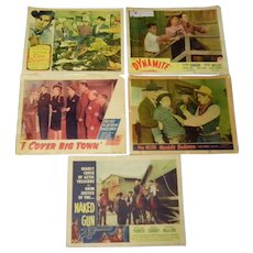 Vintage Lot Of 5 - 14 X 11 Movie Posters 1940's - 1950's