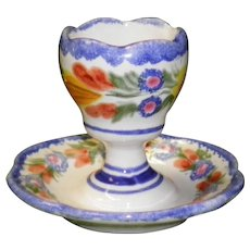 Henriot Quimper Egg Cup With Attached Underplate