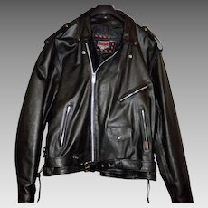 Vintage Interstate Leather Motorcycle Jacket Size 54