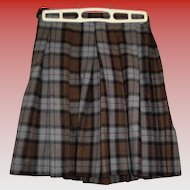 Girls Vintage Plaid Wool Skirt