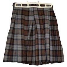 Girls Vintage Plaid Wool Skirt