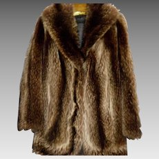 Vintage Raccoon Fur Coat Size L XL By Nigbor Fur