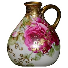 Nippon Hand Painted Gold Gilded Ewer / Pitcher