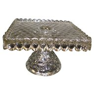 American Fostoria Glass Square Cake Stand With Rum Well