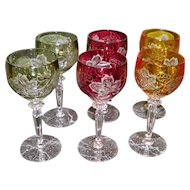 Set Of 6 Bohemian Cut To Clear Crystal Wine Glasses