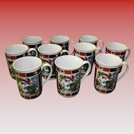Set Of 10 Imari Heritage Coffee Cups /Mugs