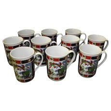 Set Of 10 Imari Heritage Coffee Cups /Mugs
