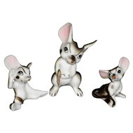 Set Of 3 Porcelain Mice Figurines