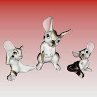 Set Of 3 Porcelain Mice Figurines