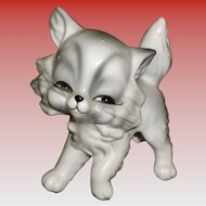 Vintage Porcelain Cat With Whiskers Figurine
