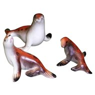 Set of 3 Porcelain Seal Figurines