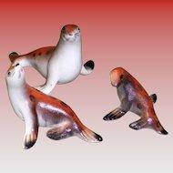 Set of 3 Porcelain Seal Figurines