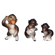 Set Of 3 Porcelain Monkey Figurines
