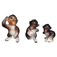 Set Of 3 Porcelain Monkey Figurines