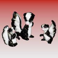 Set of 3 Porcelain Skunks Figurines